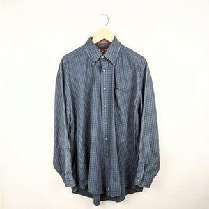 Nordstrom Green Blue Button Front Collared Shirt
